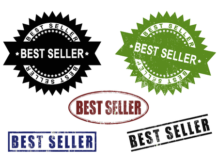 Best Seller - A set of Best Seller grunge rubber stamps signs. Image isolated on white background. Çizim