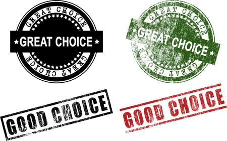 Great Choice Good Choice Rubber Stamps (Vector) Çizim