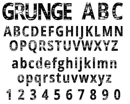 alphanumeric: Grunge Alphabet and Numeral Font Set Vector