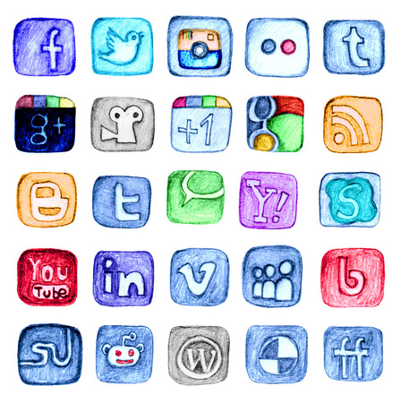 Unique hand drawn pencil drawn social media icons isolated over white background