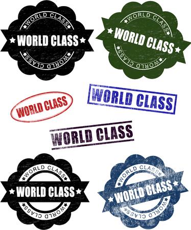 world class: World Class Rubber Stamp Seals (Vector). Set of grunge world class rubber stamp seals.