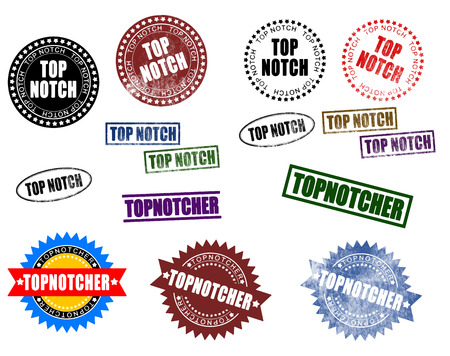 Set of topnotch topnotcher rubber stamps. Image isolated on white background vector.