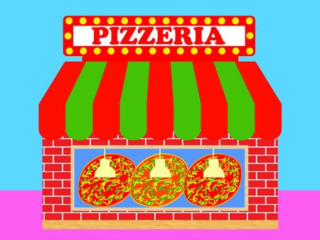 Pizzeria or Pizza Shop Illustration Vector