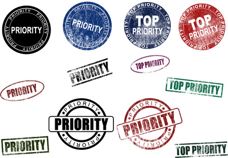 Set of different Priority & Top Priority Rubber Stamps and Seals Çizim