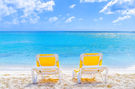 Completely Chairs in peace at the beach, Sint Maarten Banco de Imagens