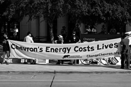 Protesters at the Rainforest Coalitions protest at the annual Chevron board meeting. Sajtókép