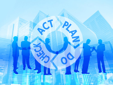 business man pdca building background