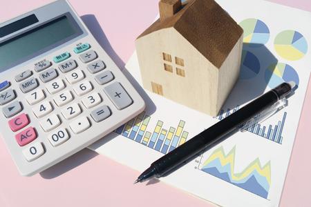 calculator home pen graph pink