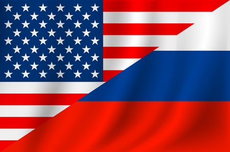 cold war: US Russia flag Stock Photo