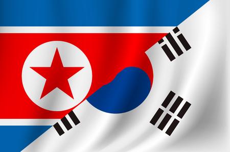 Korea and Democratic Peoples Republic of Korea flag