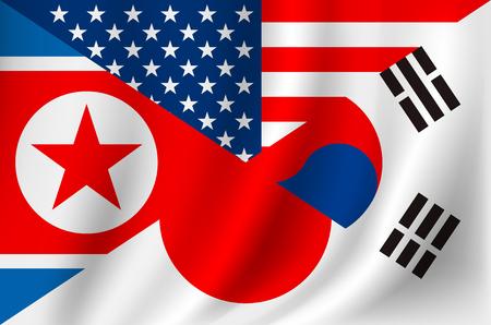 USA Japan Korea and Democratic People's Republic of Korea flag