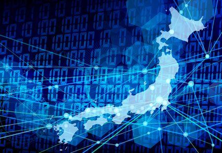Japan network blue digital background Imagens
