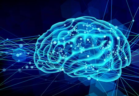 脳ネットワーク青背景