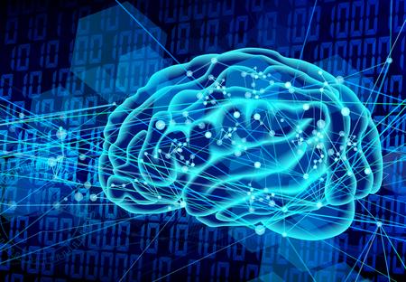 digital brain technology blue background