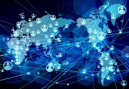 グローバル ネットワーク青背景