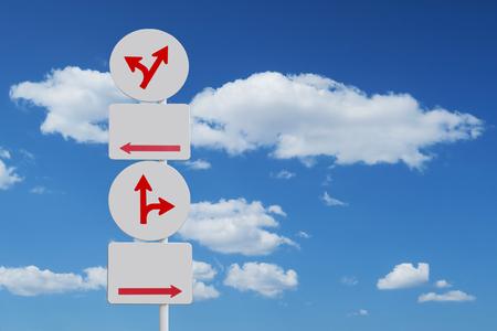 chaos arrow sign blue sky