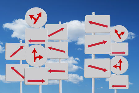 right path: chaos arrow sign blue sky