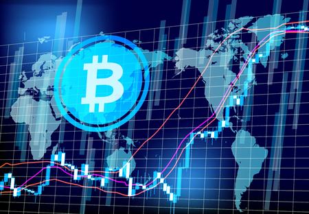 비트 동전 차트 세계 네트워크 스톡 콘텐츠