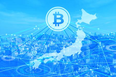 bitcoin network Japan 写真素材