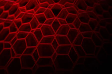 metal grid: abstract hexagon red background