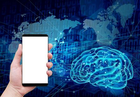 holding smart phone global AI