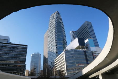 blue sky and building in Tokyo Japan Stock Photo