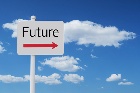 future sign and blue sky 版權商用圖片 - 93639703