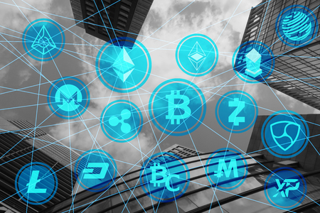various crypto currency network building background Stockfoto