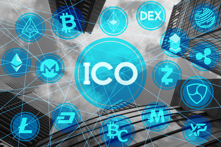 Initial Coin Offering various crypto currency network building background 写真素材