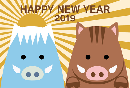 japanese wild boar new years card