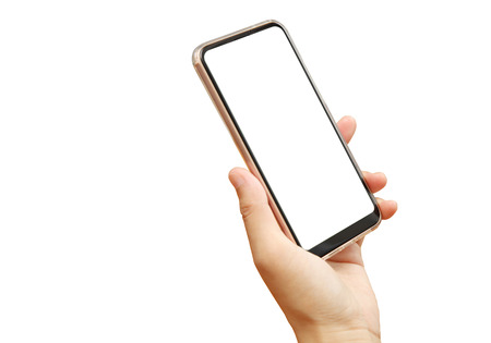 the female hand holding smartphone in front of white background