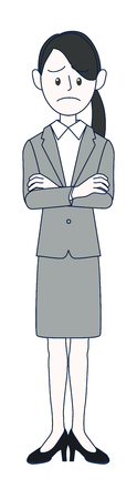 A young woman businessman with troublesome face