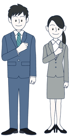 A young man and a female businessman with a pose to hit his chest