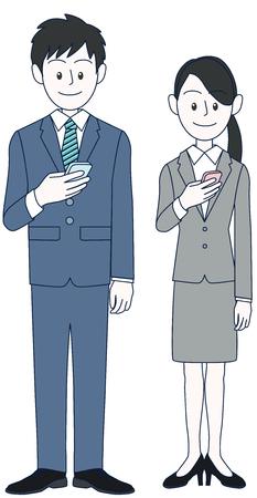 Young men and women businessmen watching smartphones