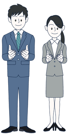 Male and female businessmen taking a pose to solicit