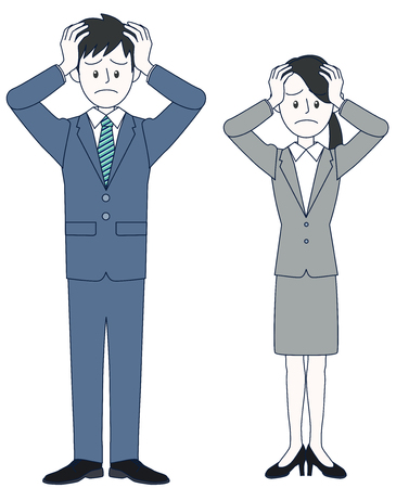 Young men and female businessmen who have head and suffer