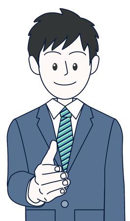 A young male businessman seeking handshake