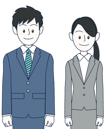A young female and male businessman standing