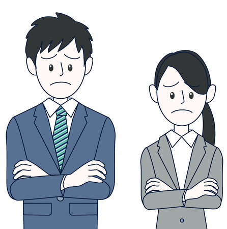 Young male and female businessman with embarrassing face troubled