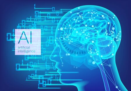 Artificial intelligence AI network and digital background Stock fotó