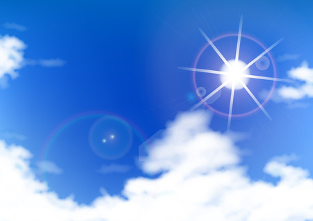 Sun blue sky and cloud abstract background 写真素材
