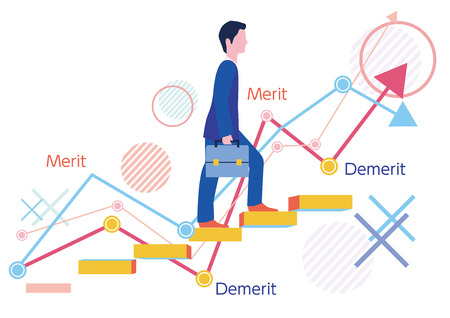 Benefits and disadvantages of temporary staff and graph-Flat design concept illustration
