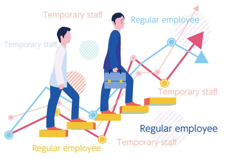 Step up of merits and disadvantages of temporary staff and regular employees-Flat design concept Illustration 스톡 콘텐츠