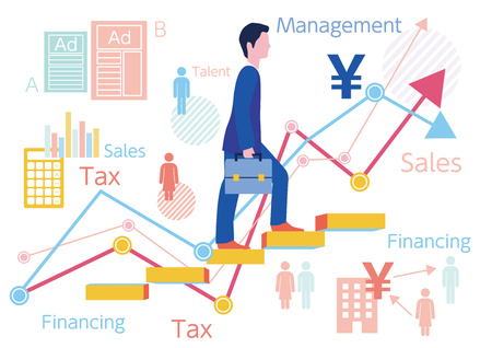 Step-up and graph of manager businessman-flat design concept illustration Stock Photo