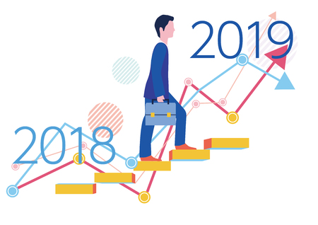 Step up graph and businessman from 2018 to 2019 - Flat design concept illustration