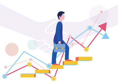 Successful businessman and step-up graph-Flat design concept Illustration