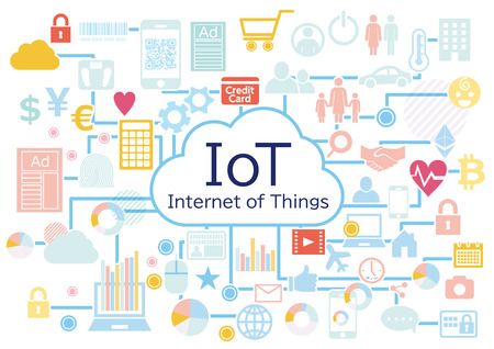 Iot business connected icon set white background Standard-Bild