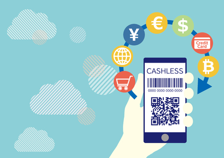 Cashless settlement with QR code and hand holding smartphone-blue cloud network flat design illustration