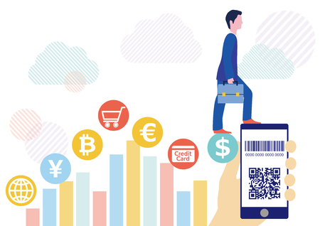 Cashless settlement with QR code businessman and hand holding smartphone-White cloud network flat design illustration Фото со стока