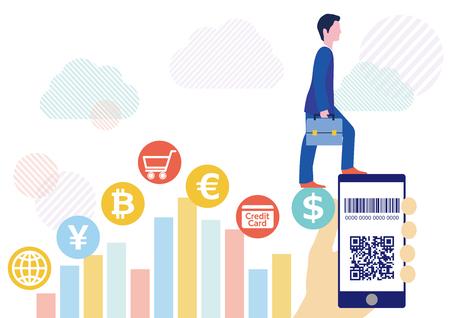 Cashless settlement with QR code businessman and hand holding smartphone-White cloud network flat design illustration Stok Fotoğraf
